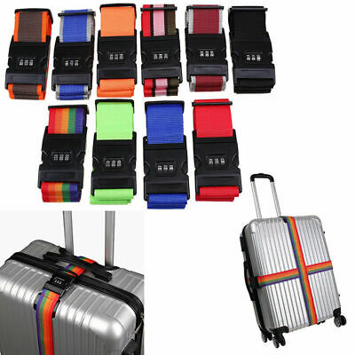 Multicolor Adjustable Luggage Suitcase Strap Baggage Belt Travel Safe Coded Lock