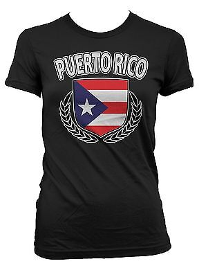 Puerto Rico Shield Rican Crest Coat Of Arms Country Born From PR Juniors T-Shirt