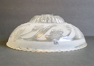 Vintage Glass Ceiling Fixture Light Raised Floral Design Pattern Victorian Clear
