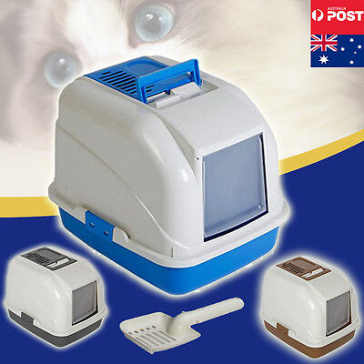 Cat Pet Toilet House Litter Box Tray Portable Hooded Handle Scoop Carrier