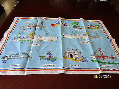 Pure Linen Tea Towel - By Ulster - P. & O. - Orient Lines