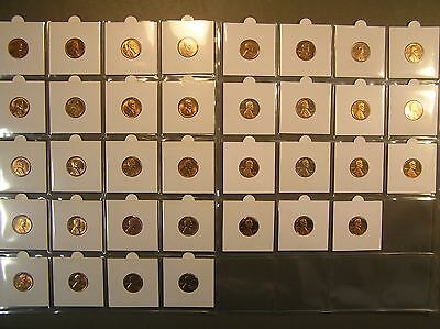 LINCOLN CENT LOT 35 Coins UNCIRCULATED & PROOFS * 1940's 50's 60's 70's & 1980's