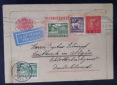 SCARCE 1935 Sweden Airmail Lettercard ties 4 stamps to Germany