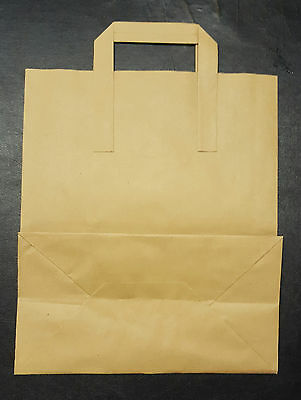 "100 SMALL (7x3.5x8.5"") BROWN SOS KRAFT PAPER CARRIER BAGS"