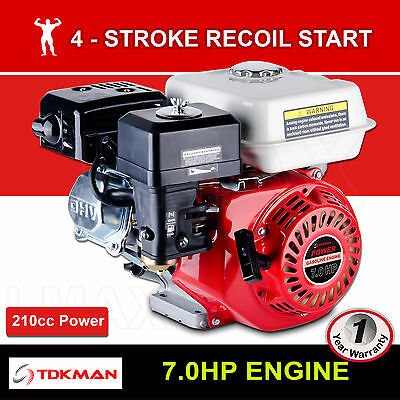 7HP Petrol Engine OHV Stationary Motor 4 Stroke 19mm Horizontal Shaft Recoil