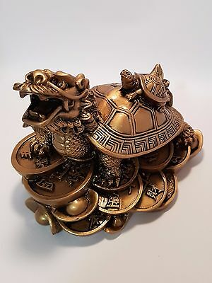 Dragon Turtle with Little Baby Turtle on Top, Gold 100mm (Post or Local Pickup)