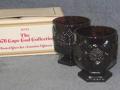 Avon Cape Cod 1876 Ruby Red Glass Footed Glass Set Of 2 With Original Box