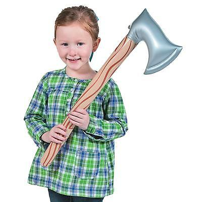"""25"""" Inflatable Wood Axe Weapon Tool Kids Novelty Party Play Fancy Dress Toy"""