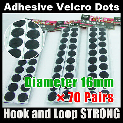 16mm×70P (Black) Fastener Strong Sticky Back Self Adhesive Dots hook loop