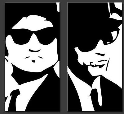 Quadro pop art moderno BLUES BROTHERS dipinto a mano