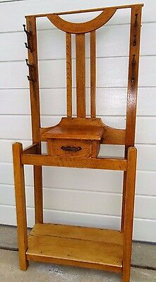 Original Antique Pine Entrance Hall Stand with Drawer - Hat, Coat Rack - 1920's.
