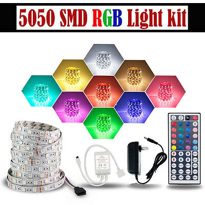 5M RGB 5050 Non Waterproof LED Strip light SMD 44 Key Remote 12V Adapter Power