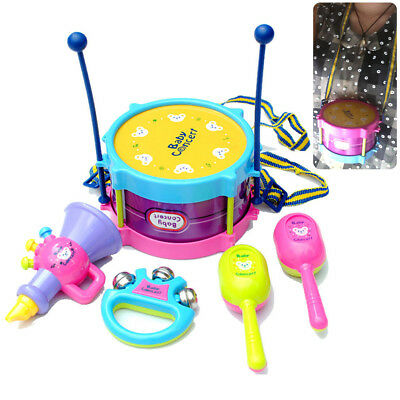 5Pcs Kids Baby Roll Drum Musical Instruments Band Kit For Children Toys Gift Set
