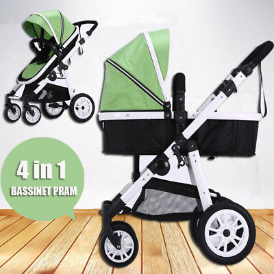 Newborn Travel System  Pram Stroller Buggy Baby Toddler Jogger PushChair Green