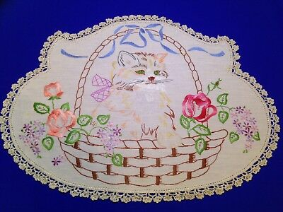 1 Vintage Cat In Flowery Basket Design Embroidered Doilies / Doily