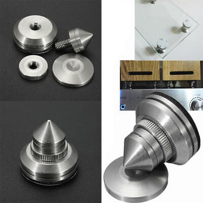 4x Stainless Steel Speaker Spike + Pad Base Amplifier Isolation Cone Stand Feet