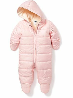 New OLD NAVY Hooded Snowsuit Size 0 3 months Quilted Fleece Lined Footed Pink