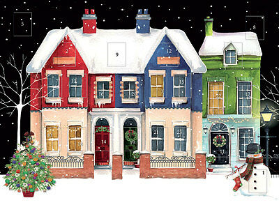 Traditional Advent Calendar Snow Houses Glitter Finish 24 Doors + Envelope NEW