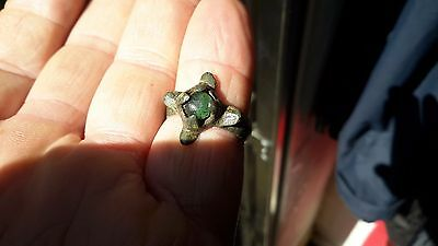 Genuine Medieval Period c 1000-1200 Ring With Green Gem-Detecting Find