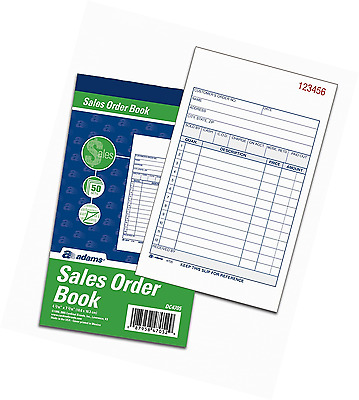 Adams Sales Order Books, 2-Part, Carbonless, White/Canary, 4-3/16 x 7-3/16 Inche