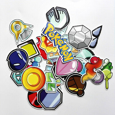 33pcs/lot  Pokemon Gym Badges stickers For Skateboard Laptop Luggage Car