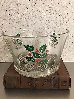 Vintage Xmas Ice Bucket Glass Holly Berry Motif Crisa Glass Mid Century Barware
