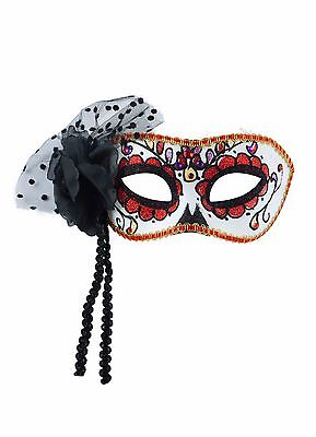 Day Of The Dead Halloween Ladies Eye Mask Masquerade Fancy Dress Accessory