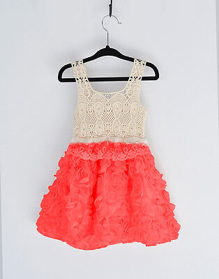 Girl Floral Dress 3D Rose Vintage Lace Tulle TuTu Party Birthday Dress Size 1-7