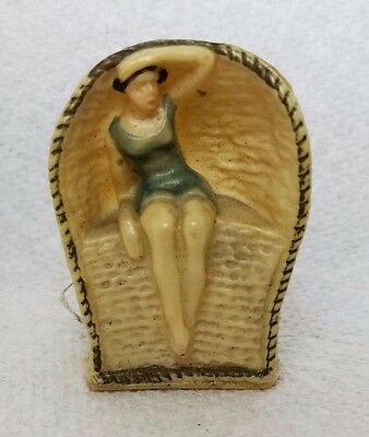 Antique BATHING BEAUTY in CABANA TAPE MEASURE ; c1920's,  RaRe and ADORABLE