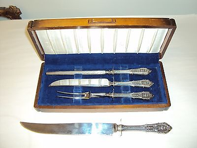 Vintage Sterling Silver Wallace Rosepoint Carving Set. 4 PC & Box