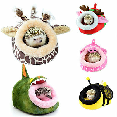 Small Animal Hamster Rat Hedgehog Squirrel House Bed Nest With Pad For Cage S /L