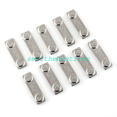 10Pcs Metal Strong Magnetic Name ID Tag Badge Fastener Holder Card Tag 45x13mm