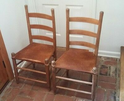 Early Louisiana Cowhide Pegged Chairs Set Of Eight Matching..fabulous! !