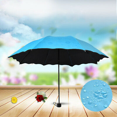 Magic Flower Women Anti UV Flouncing Dome Parasol Sun/Rain Folding Umbrella