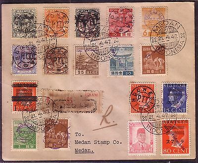 Fancy Canceled Malaya Japanese Occupation Ned Indie Indonesia cover stamps 1947