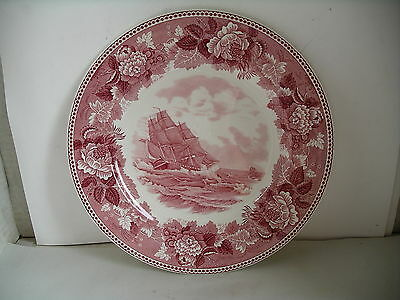 """Red Wedgewood Washington Bicentennial Plate 10 1/4"""" Old Ironside in chase"""
