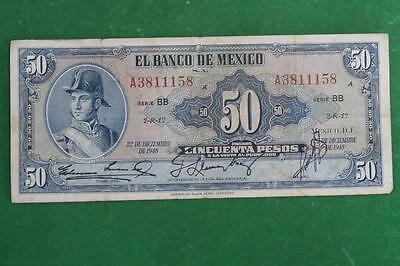 1948 American Bank note Co. 50 pesos notes  used serie BB