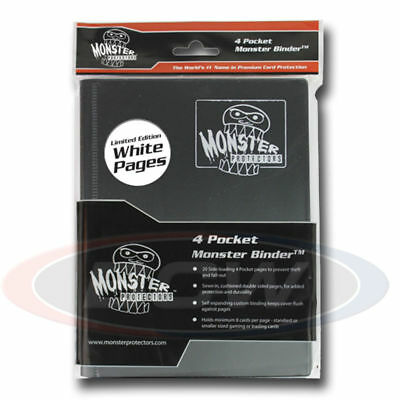 Monster Gaming Card Binder 4 Pocket Black with White Pages