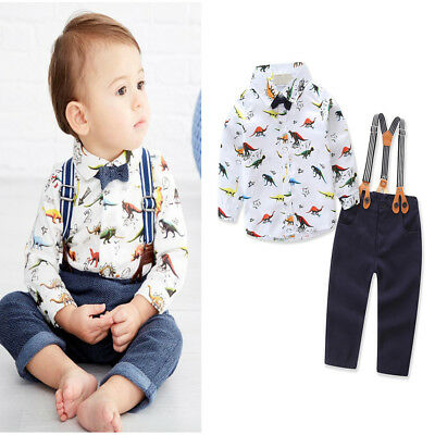 Kid Baby Boy 3PCS Tuxedo Suits Top Shirt Suspender Pants Bow Tie Outfit Clothes