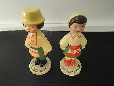 VTG.miniature Celluloid Doll OLYMPIC GAMES Moscow 80 MALE FEMALE RARE