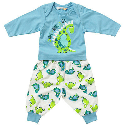 Lullaby Baby Boys Cotton Pyjamas Cute Dinosnore Long Sleeve Printed Blue 0-9m