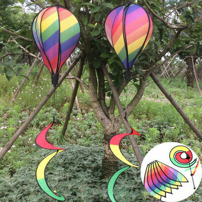 Hot Air Balloon Rainbow Striped Wind Spinner Windsock Yard Outdoor Play Decor US