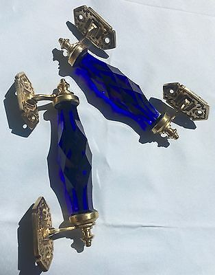 2 Pc Vintage Antique Style Crystal/Cut Glass LONG Door Handles, COBALT BLUE