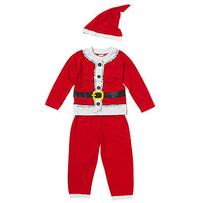 Boys Little Santa Christmas Dress Up Pyjamas & Hat Set Novelty Set Red White