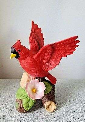 Red Cardinal with Flower Fine Porcelain Figurine