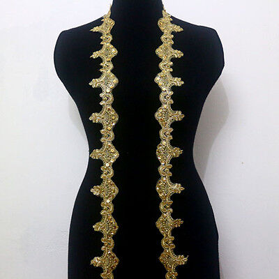 1 Yard Embroidery Corded Gold Metallic Beaded Sequins Lace Trims Applique