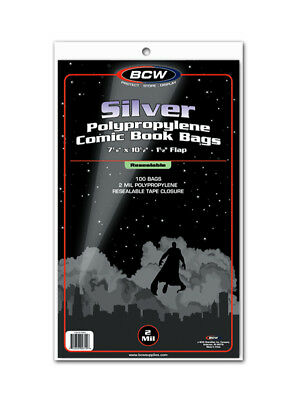BCW Silver Age Resealable Comic Book Bags / Sleeves Pack of 100