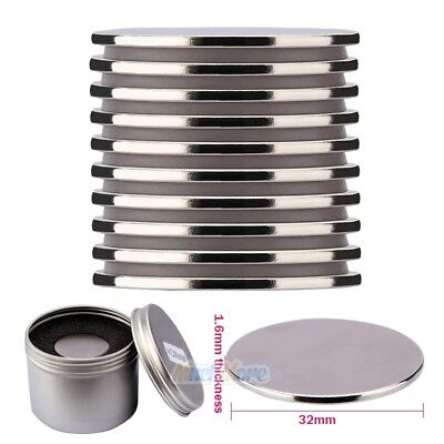 Lot10 N52 32mmX1.6mm Super Strong Round Disc Magnets Rare Earth Neodymium Magnet