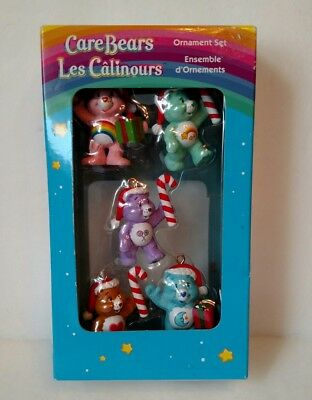 2005 American Greetings Care Bears Miniature Set Of 5 Christmas Ornaments New