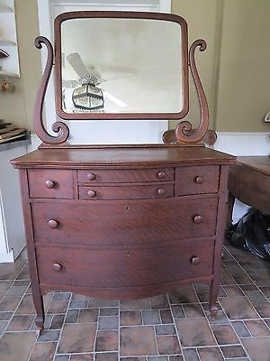 Antique dresser w / beveled glass mirror wooden casters drawer bottoms replaced